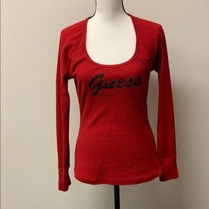 Guess Los Angeles Red Long sleeve Top